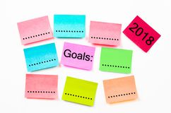 Colorful sticky note paper with Goals 2018. stock photography