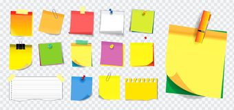 Colorful sticky note or ripped paper. using in school, work or office activity. Easy to modify design stock photography