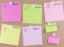 Colorful sticky notes. Attached to a corkboard with white thumbtacks Royalty Free Stock Photos