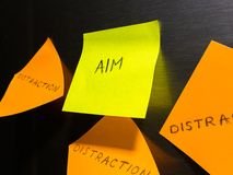Colorful sticky notes with aim and distraction captions attached to fridge door stock photos
