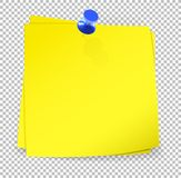 Colorful sticky notes attached with blue pin on transparent back Royalty Free Stock Images