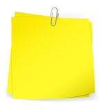 Colorful sticky notes attached with metallic paper clip Royalty Free Stock Photos