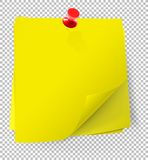 Colorful sticky notes attached with red pin on transparent   Royalty Free Stock Photos
