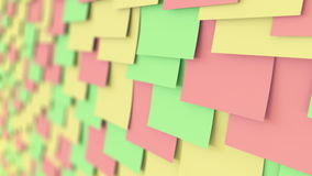 Colorful sticky notes on the board, shallow focus. Office work or reminder concepts. 4K seamless loopable dolly clip
