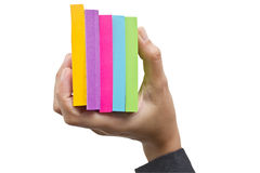 Colorful Sticky Notes In Hand. Royalty Free Stock Photo