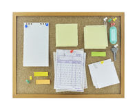 Colorful sticky notes, pin, key and tag name on cork board Royalty Free Stock Photo