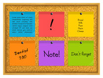 Colorful sticky notes pinned to a cork notice board with push pins. Vector. Colorful sticky notes pinned to a cork notice board with push pins Stock Image