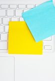 Colorful Sticky Notes Post On White Laptop. Stock Image