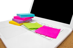 Colorful Sticky Notes On White Laptop. Royalty Free Stock Photos