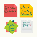 Colorful sticky notes with writings set on white Royalty Free Stock Photo