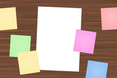 Colorful Sticky Posts and White Paper Stock Photo