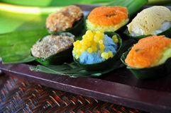 Colorful Sticky Rice Dessert on Tray Royalty Free Stock Images