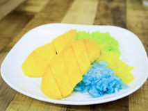 Colorful sticky rice on sweet ripe mango dipping by coconut milk Stock Photos