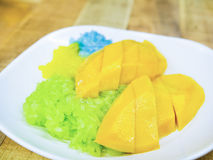 Colorful sticky rice on sweet ripe mango dipping by coconut milk Royalty Free Stock Images