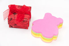 A colorful sticky stickers in the shape of a teddy bear and red Stock Photos