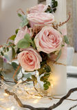 Colorful still life with roses in beautiful candle Royalty Free Stock Images