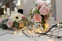 Colorful still life with roses in beautiful candle Royalty Free Stock Image