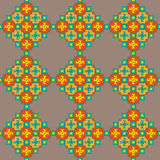 Colorful stitching seamless pattern on a beige background Stock Image
