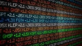 Colorful Stock Market Ticker scrolling in sleek environment - wall street concept stock video