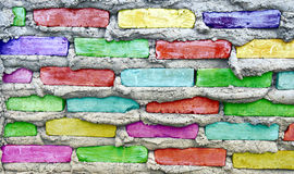 Colorful stone block wall Royalty Free Stock Images