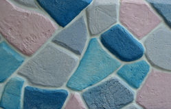 Colorful stone block wall Stock Photo