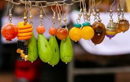 Colorful Stone Earrings Pendants Stock Photo