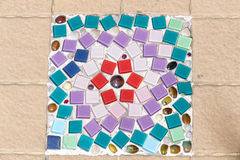 The colorful stone and mosaic tile decorating on temple floor Royalty Free Stock Photography