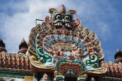 Colorful Stone Sculpture, Tiruchirapalli. Colorfully painted stone sculpture on Gopura Tower of Jambkeshwara Temple, Tiruchirapalli, Tamil Nadu, India, Asia stock photo