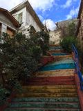 Colorful stone stairs. Painted stone stairs in Sariyer, istanbul Royalty Free Stock Photo