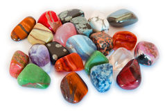 Colorful Stones (Isolate). Various stones, minerals, gems, that contain spiritual force human believes Royalty Free Stock Images