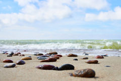 Colorful stones on sand beach Royalty Free Stock Images