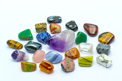 Colorful stones in white backgrounds Royalty Free Stock Image