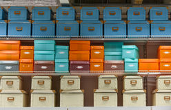Colorful storage boxes for sale Royalty Free Stock Image
