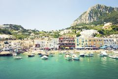 Colorful storefronts of Capri, Italy royalty free stock photos