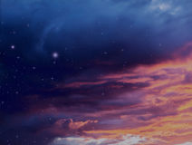 Colorful storm clouds at sunset and night sky with glowing stars nature illustration background celestial galaxy design. Weather vector illustration