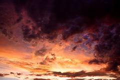 Colorful stormy sky. Colorful dramatic storm clouds at sunset Royalty Free Stock Photos