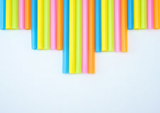 Colorful straight straw step. Colorful straight straw put continual as the beautiful background color Stock Photos