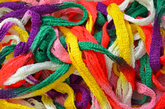 Colorful strands of yarn Stock Images