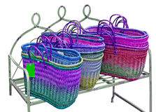 Colorful Straw Bags Royalty Free Stock Images