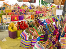 Colorful straw bags at a market in Provence France Souvenirs. Colorful straw bags at a market in Provence France Stock Image