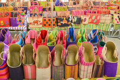 Colorful straw bags at a market in Provence,France Souvenirs. Colorful straw bags at a market in Provence,France Royalty Free Stock Photos