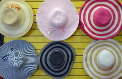 Colorful straw hats Stock Photo