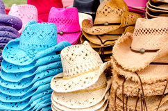 Colorful straw hats Stock Photography