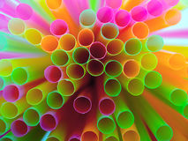 Colorful of straw. Plastic background Stock Photos