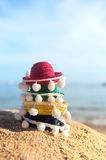 Colorful straw sombreros at beach Royalty Free Stock Photos