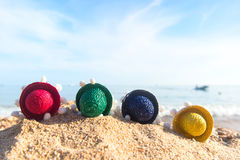 Colorful straw sombreros at beach Royalty Free Stock Images