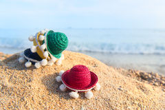Colorful straw sombreros at beach Royalty Free Stock Image