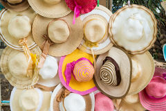 Colorful straw weave hat. S prepare to sell Stock Photo