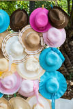Colorful straw weave hat. S prepare to sell Stock Image
