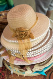 Colorful straw weave hat Stock Photo
